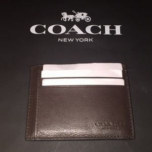 NWOT Coach Men's Brown Leather ID Card Case Wallet